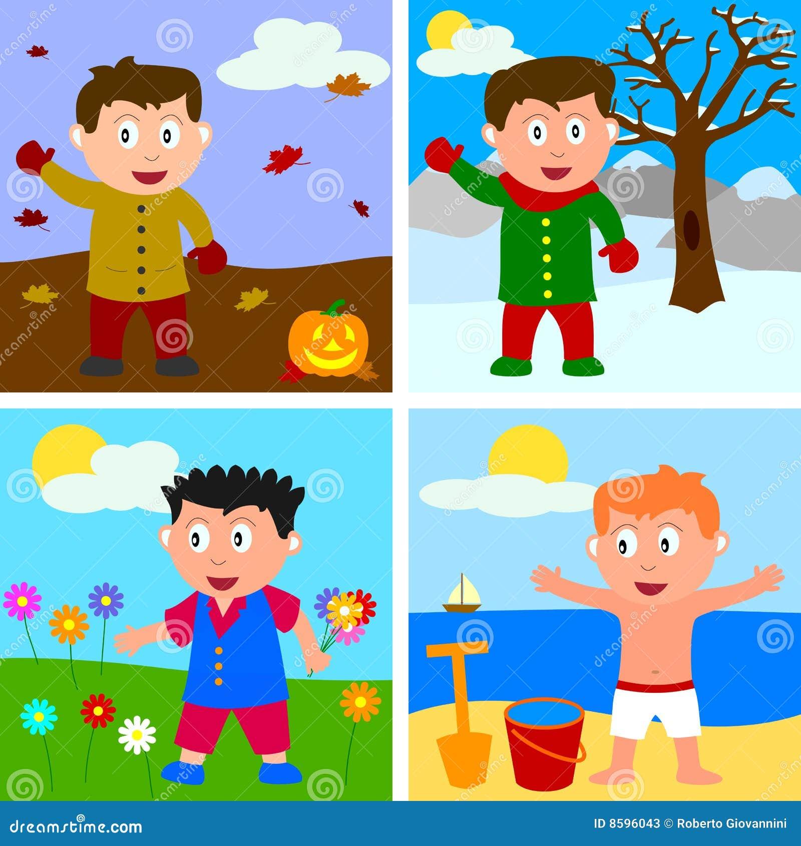Four Seasons Boys stock vector. Illustration of graphic ...