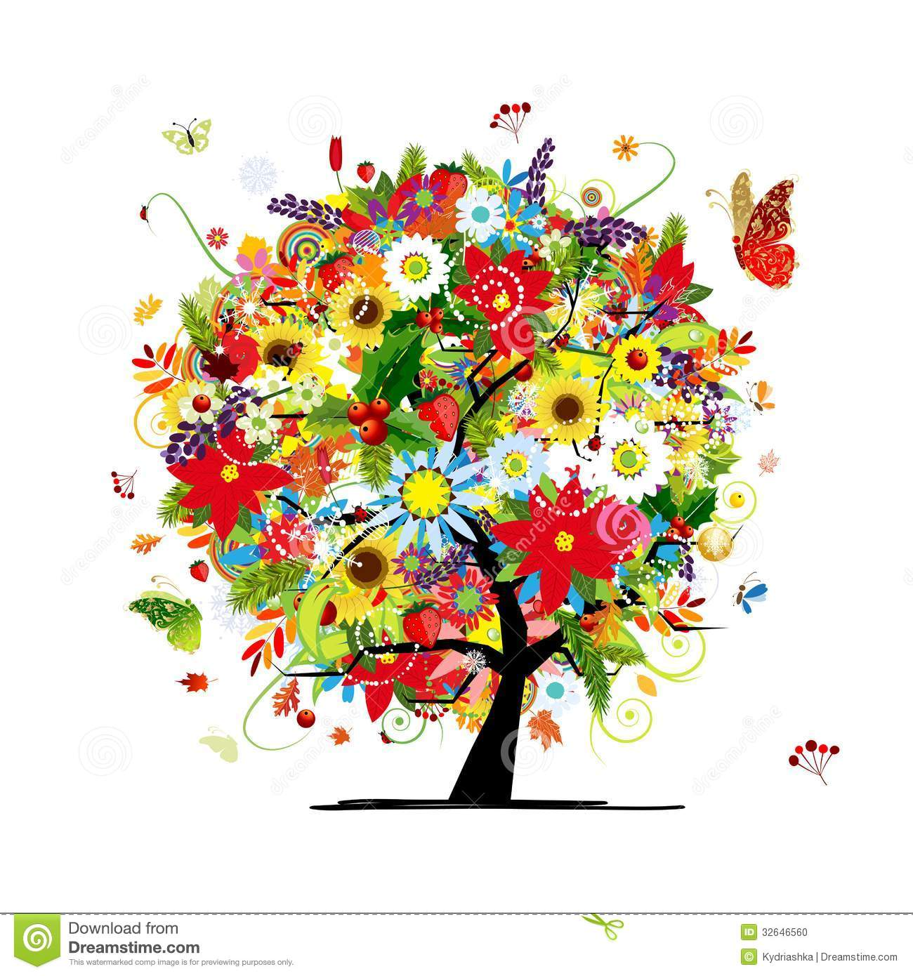 Four Seasons Concept Art Tree For Your Design Stock Photo