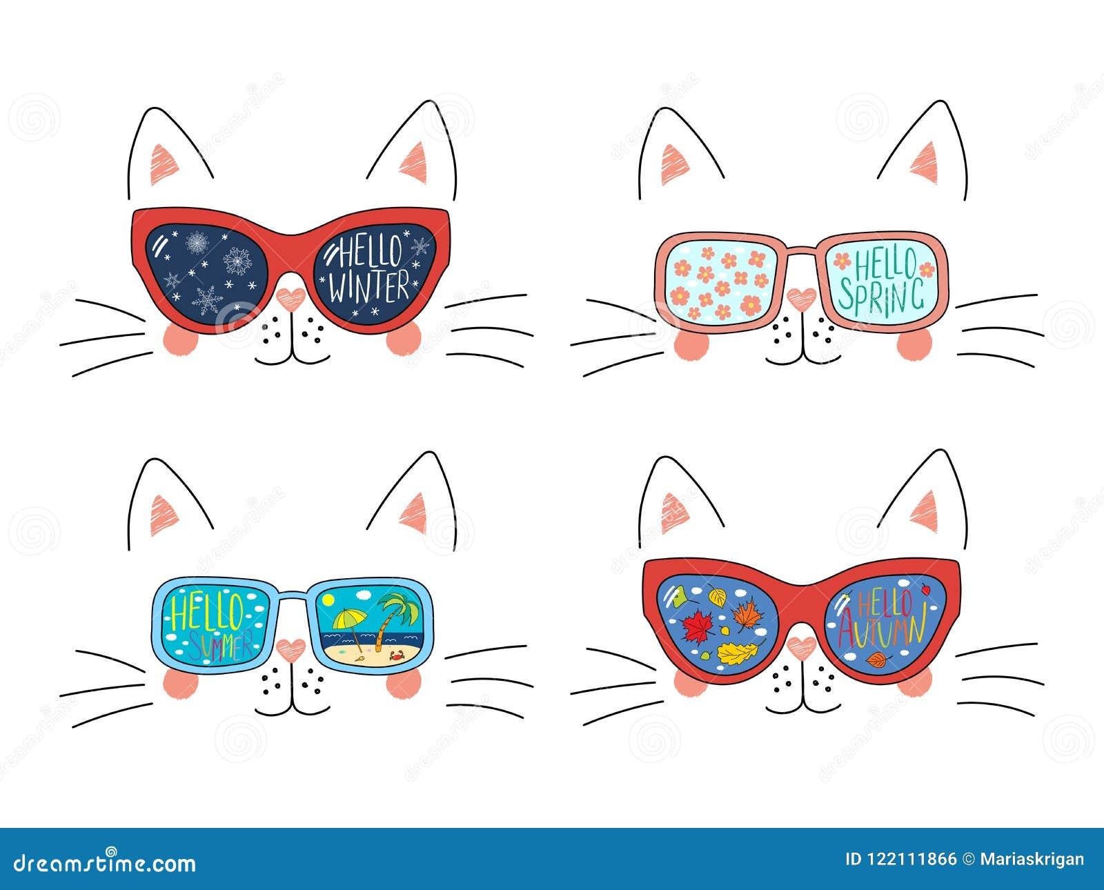 Four Seasons Cute Cat Faces Set Stock Vector Illustration Of