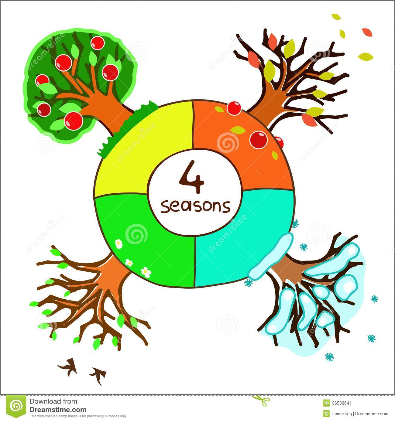 Four seasons for design of a calendar stock image image for 4 seasons decoration