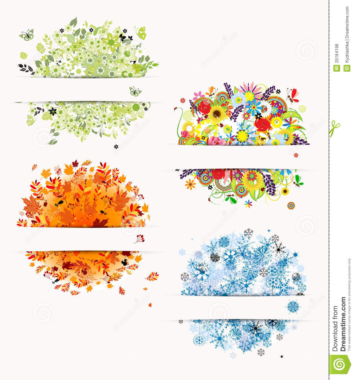 four seasons design frames stock vector image 25164198