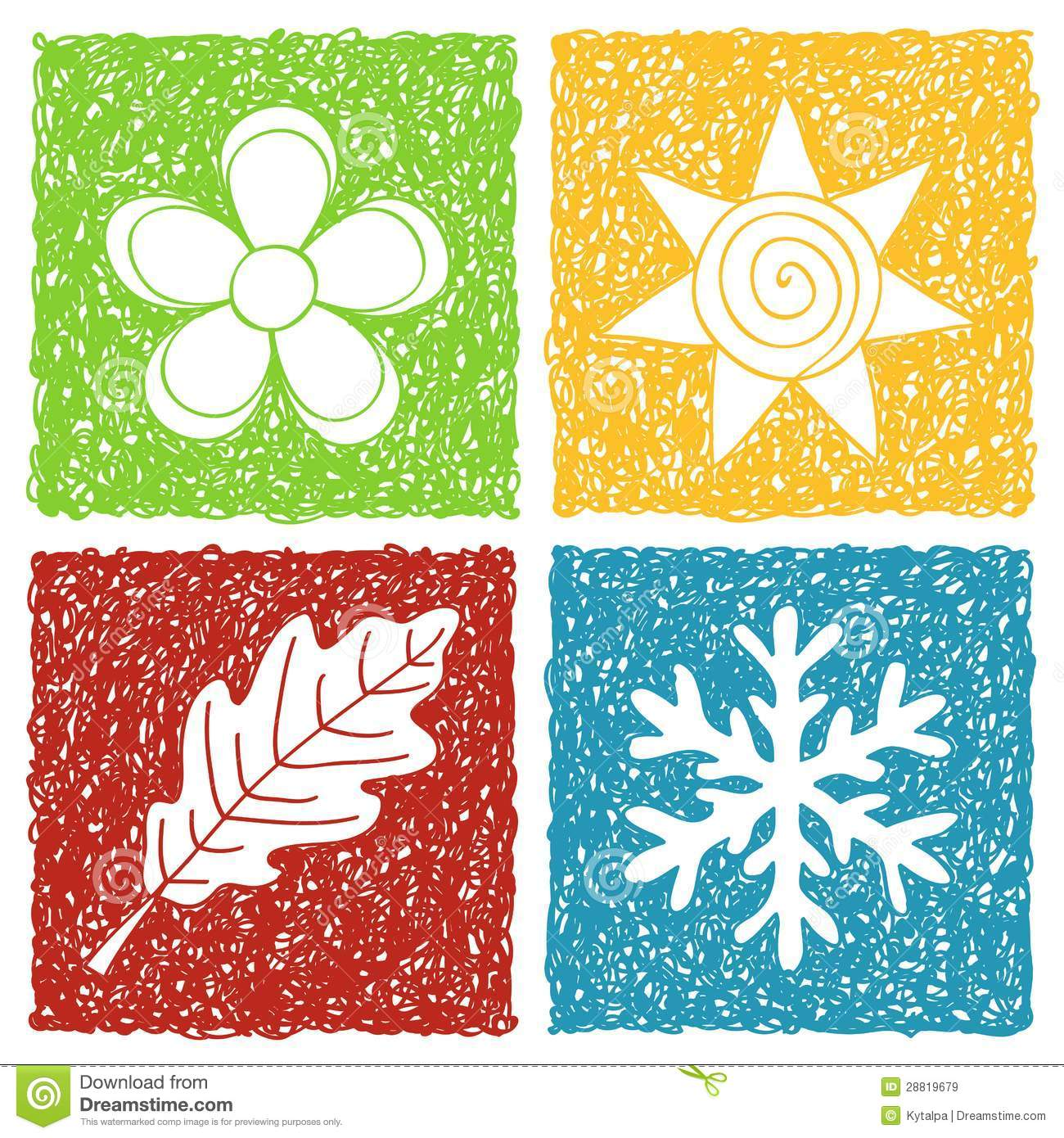 Four Seasons Doodle Icons Stock Vector Image Of Design