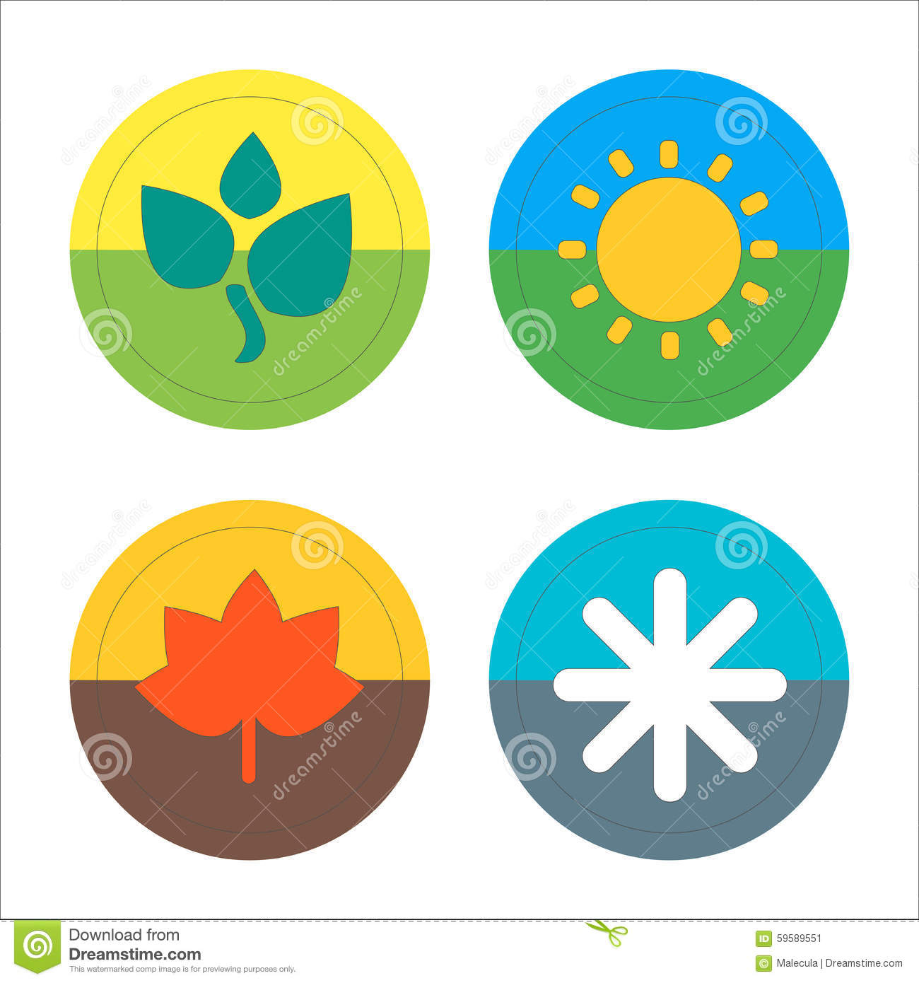 Four seasons flat thin icon set vector stock vector image 59589551 - Autumn plowing time all set for winter ...