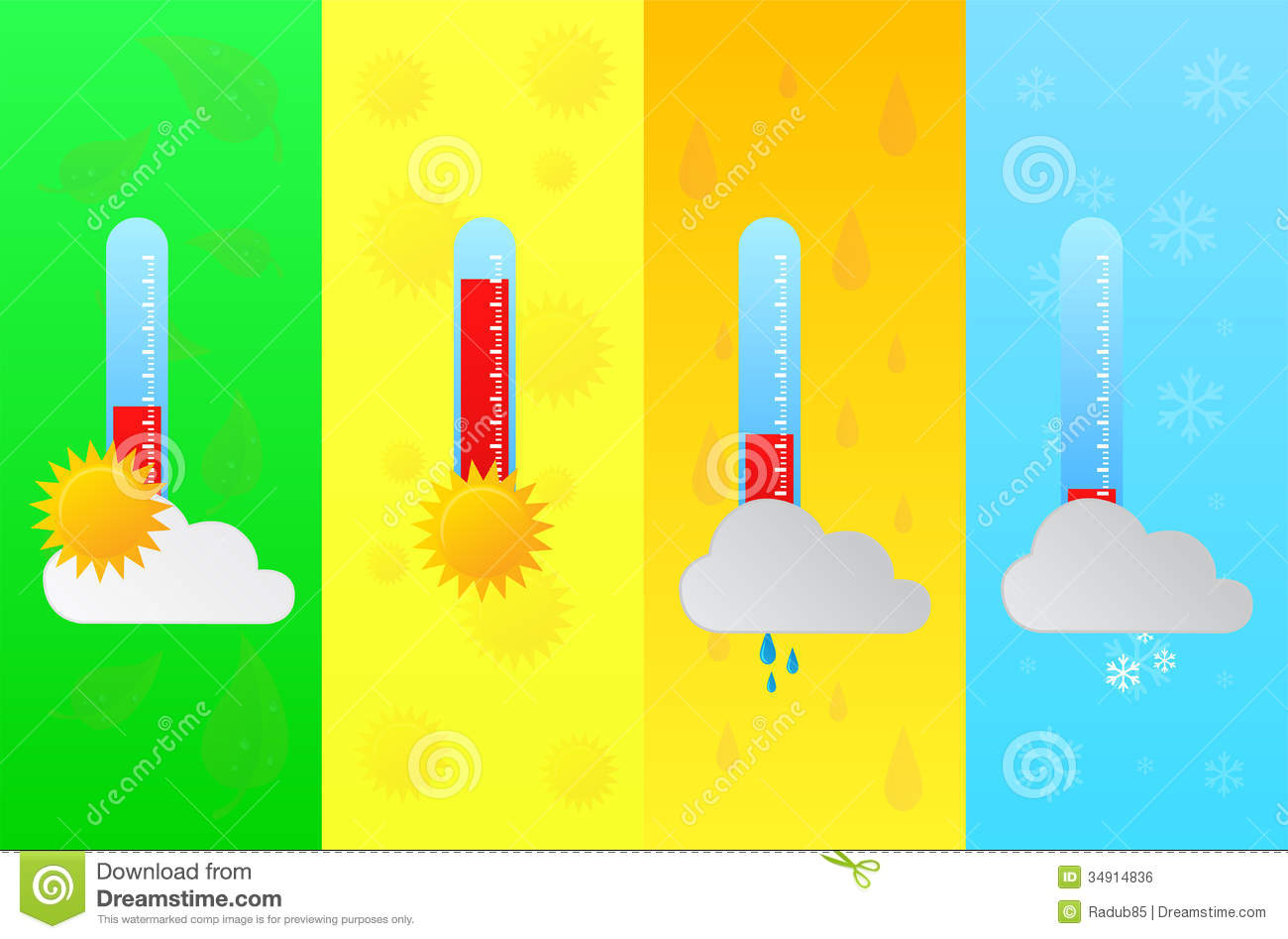Royalty Free Stock Image Four Seasons Forecast Temperature Thermometer Thermometers Indicators Vector Illustration Image34914836 on Four Seasons Clip Art