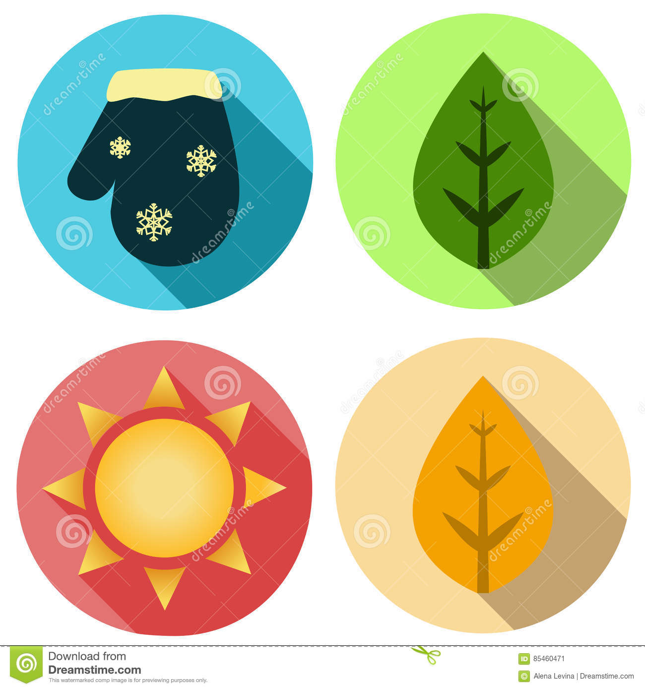 Four Seasons Icon Symbol Illustration Weather Forecast Stock