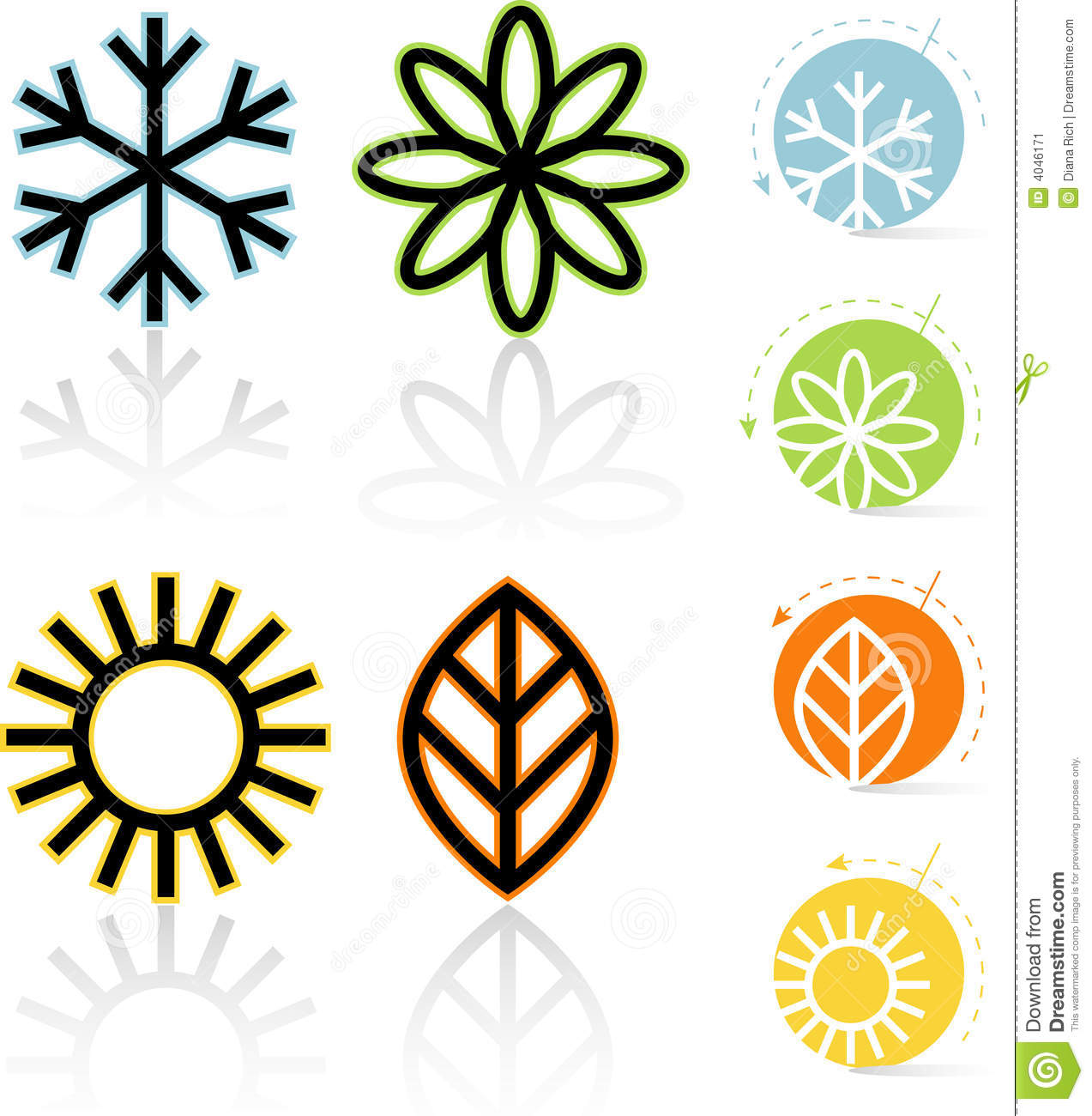 Four Seasons Air Conditioning >> Four Seasons Icons stock vector. Illustration of autumn - 4046171