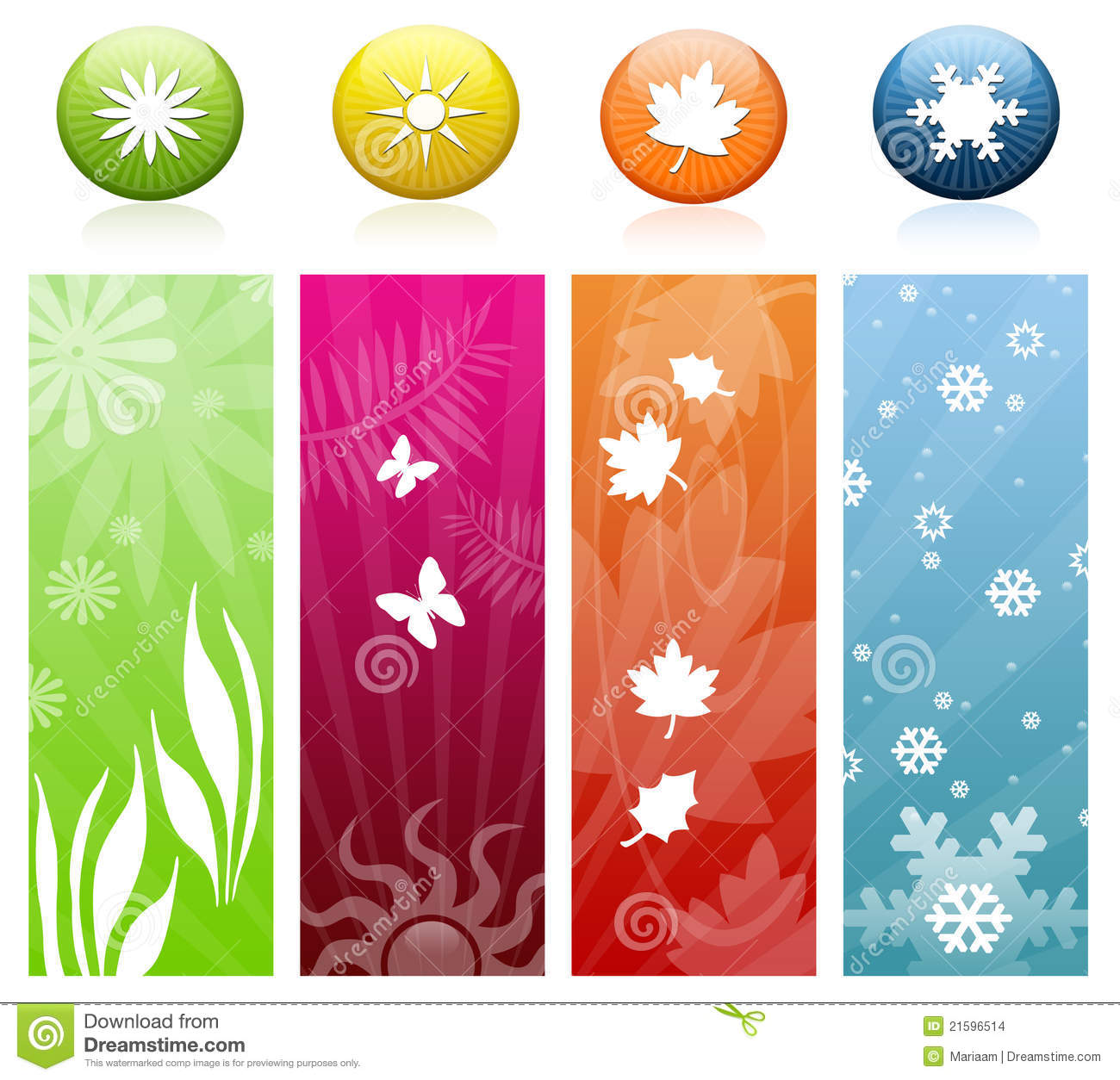 the four seasons icons banners stock illustration illustration