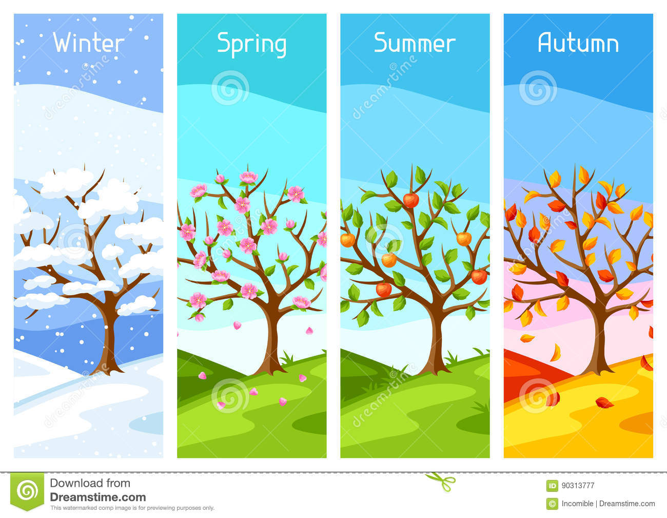 Four Seasons. Illustration Of Tree And Landscape In Winter ...