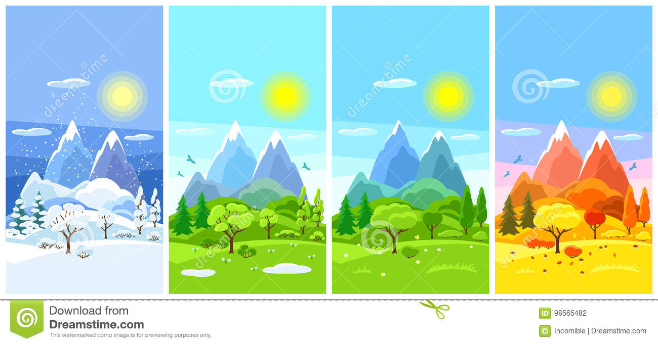 Four Seasons Landscape Banners With Trees Mountains And Hills In