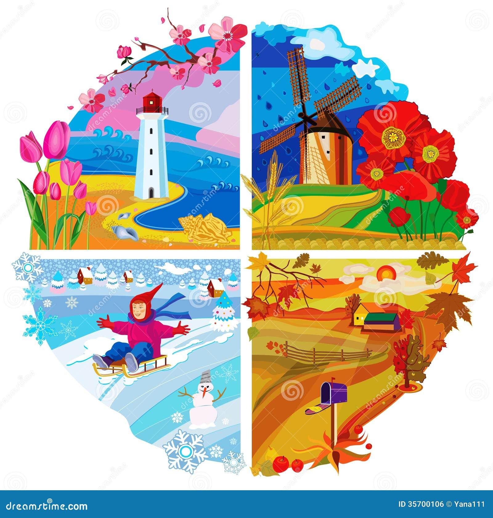 Four seasons landscape - Four Seasons Landscape Stock Vector. Illustration Of Green - 35700106