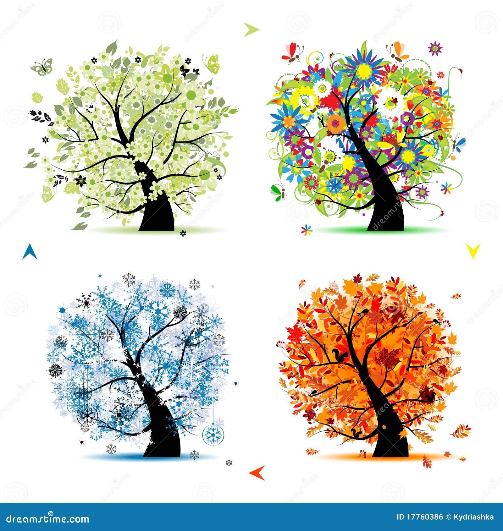Four seasons-spring, summer, autumn, winter tree