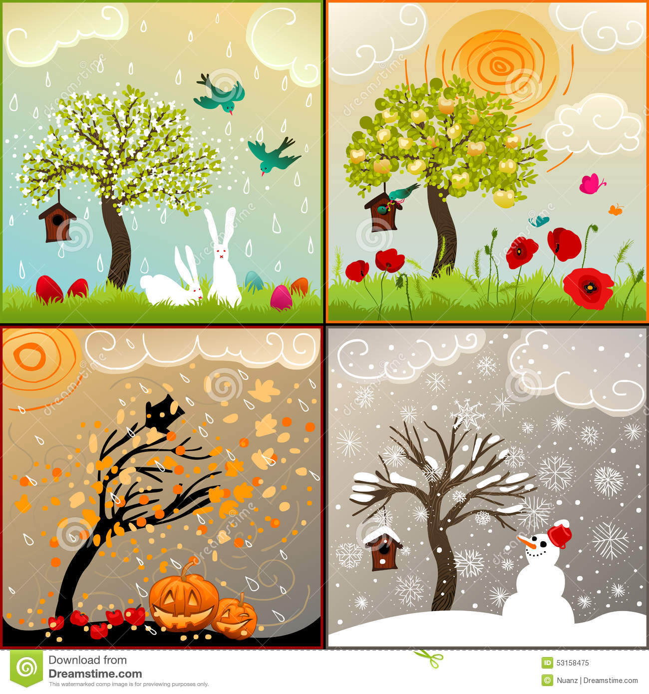 ... Apple Tree, Birdhouse And Surroundings Stock Vector - Image: 53158475
