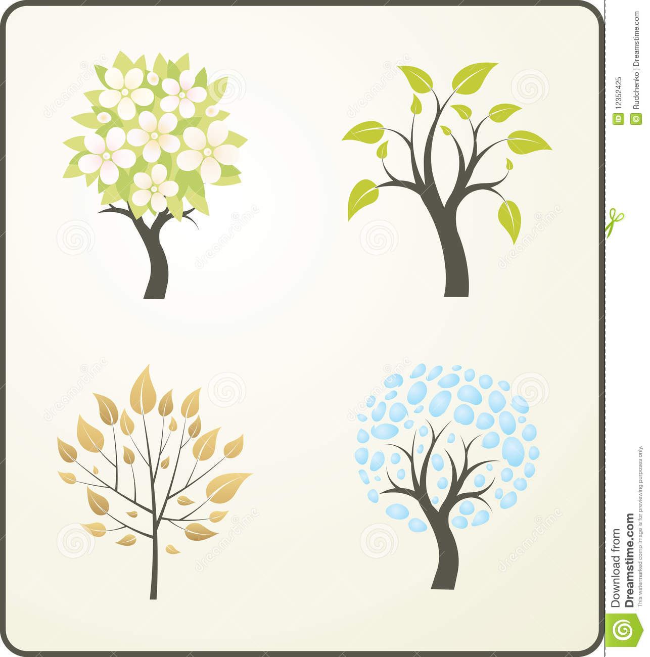 Four Seasons Of A Tree Stock Vector Image Of Environment