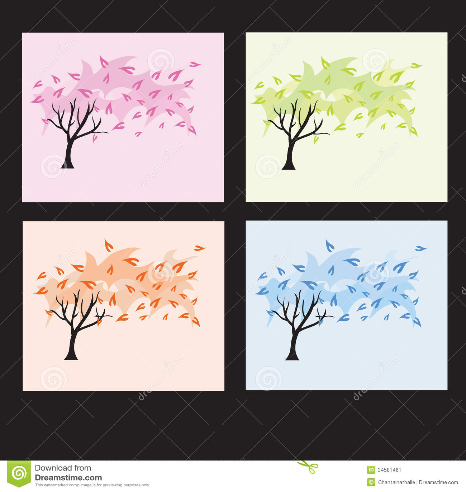 Four seasons trees stock image image 34581461 for 4 seasons decoration