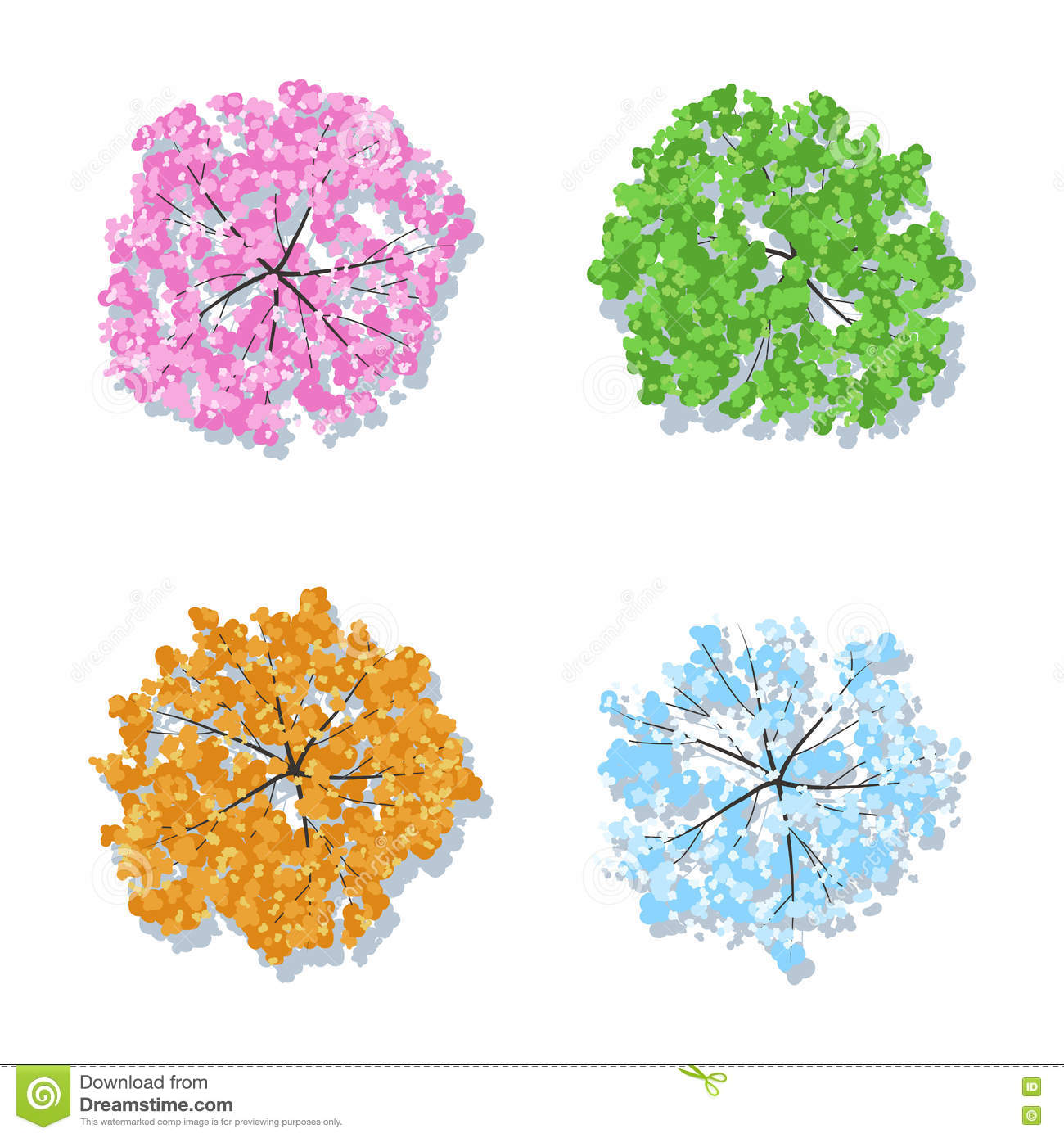 Four seasons trees spring summer autumn winter stock vector image 71499950 - Autumn plowing time all set for winter ...