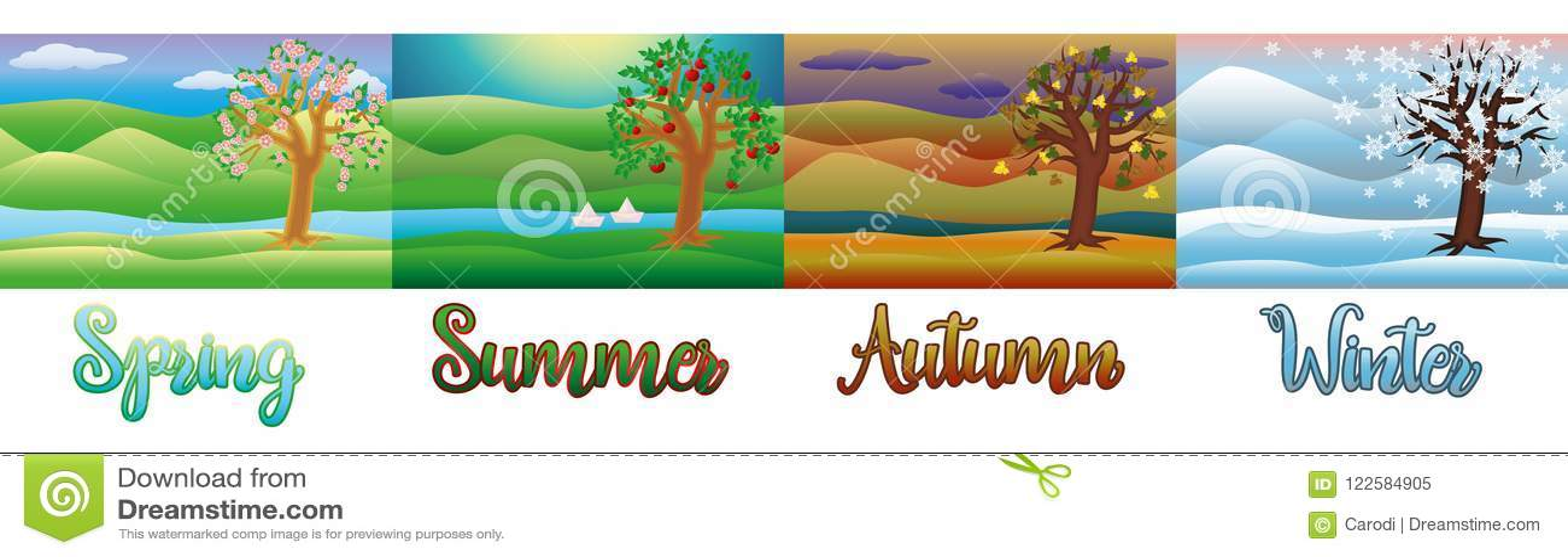 Four Seasons Wallpaper Vector Stock Vector Illustration