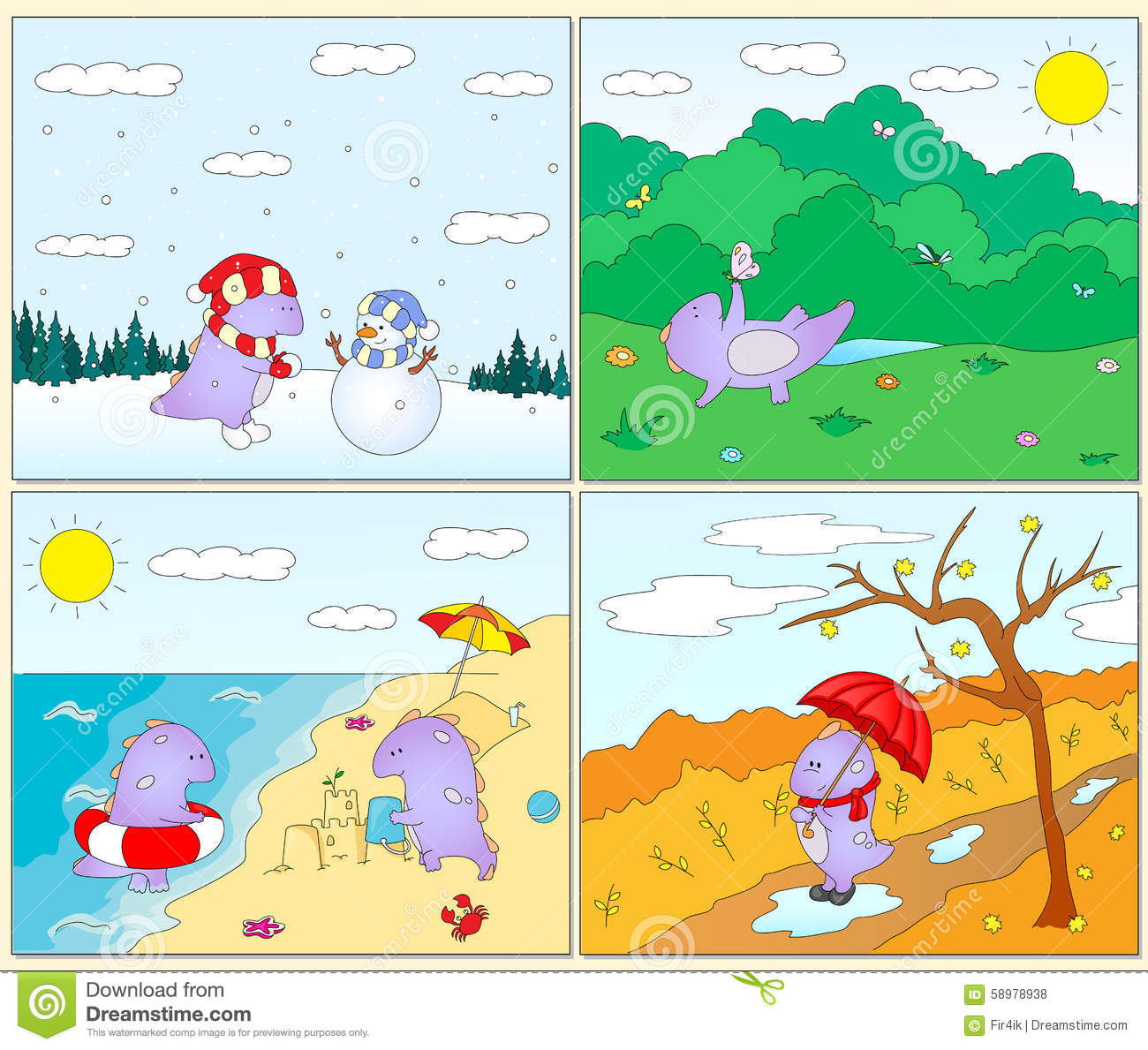 The four seasons of the year worksheets for preschools | 1189x1300