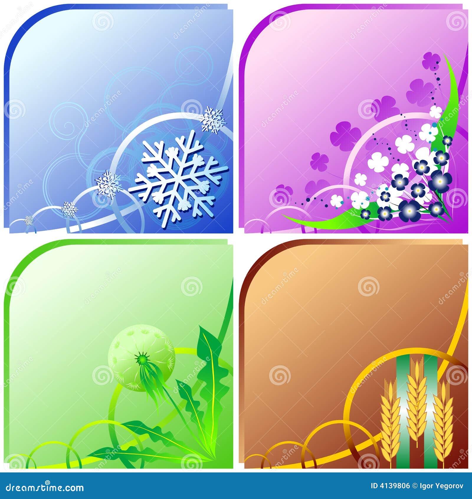 Four Seasons - Winter, Spring, Summer, Fall Stock Vector