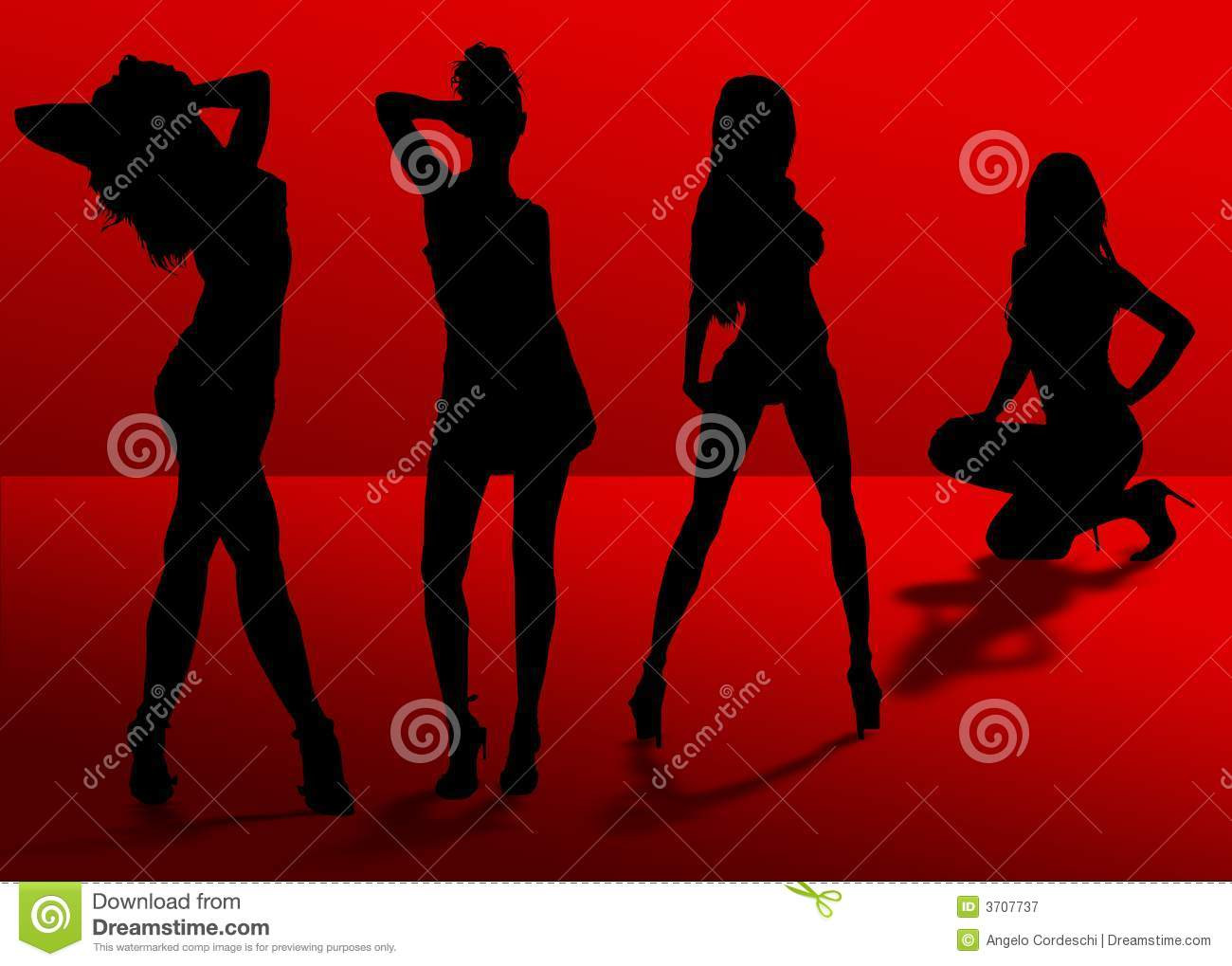 Four Silhouette Women Shadows Royalty Free Stock