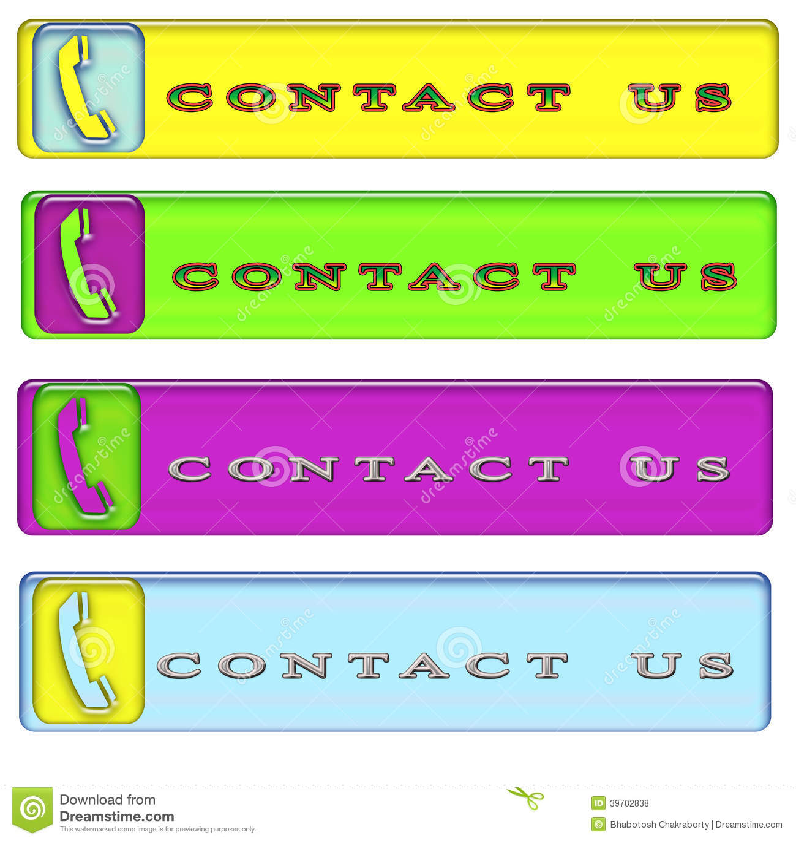 Four simple rectangular contact us button