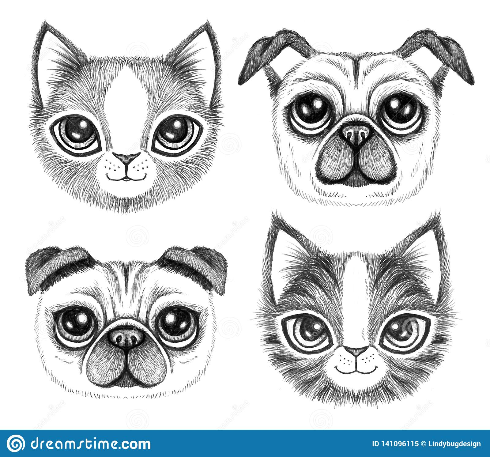Four sketchy pen drawings of cute dogs and cats