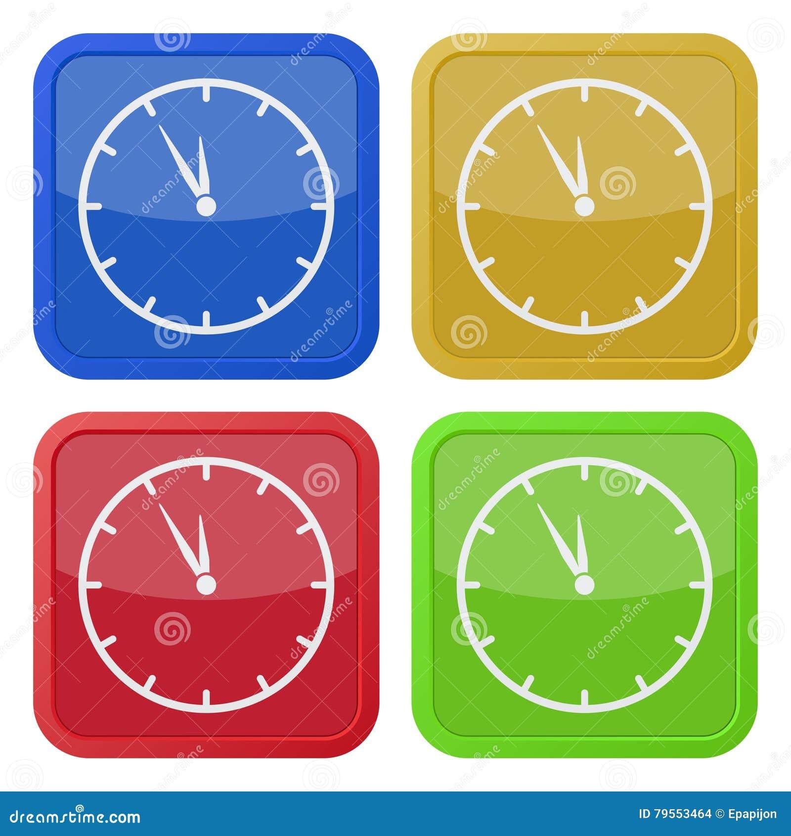 Four square color icons, last minute clock