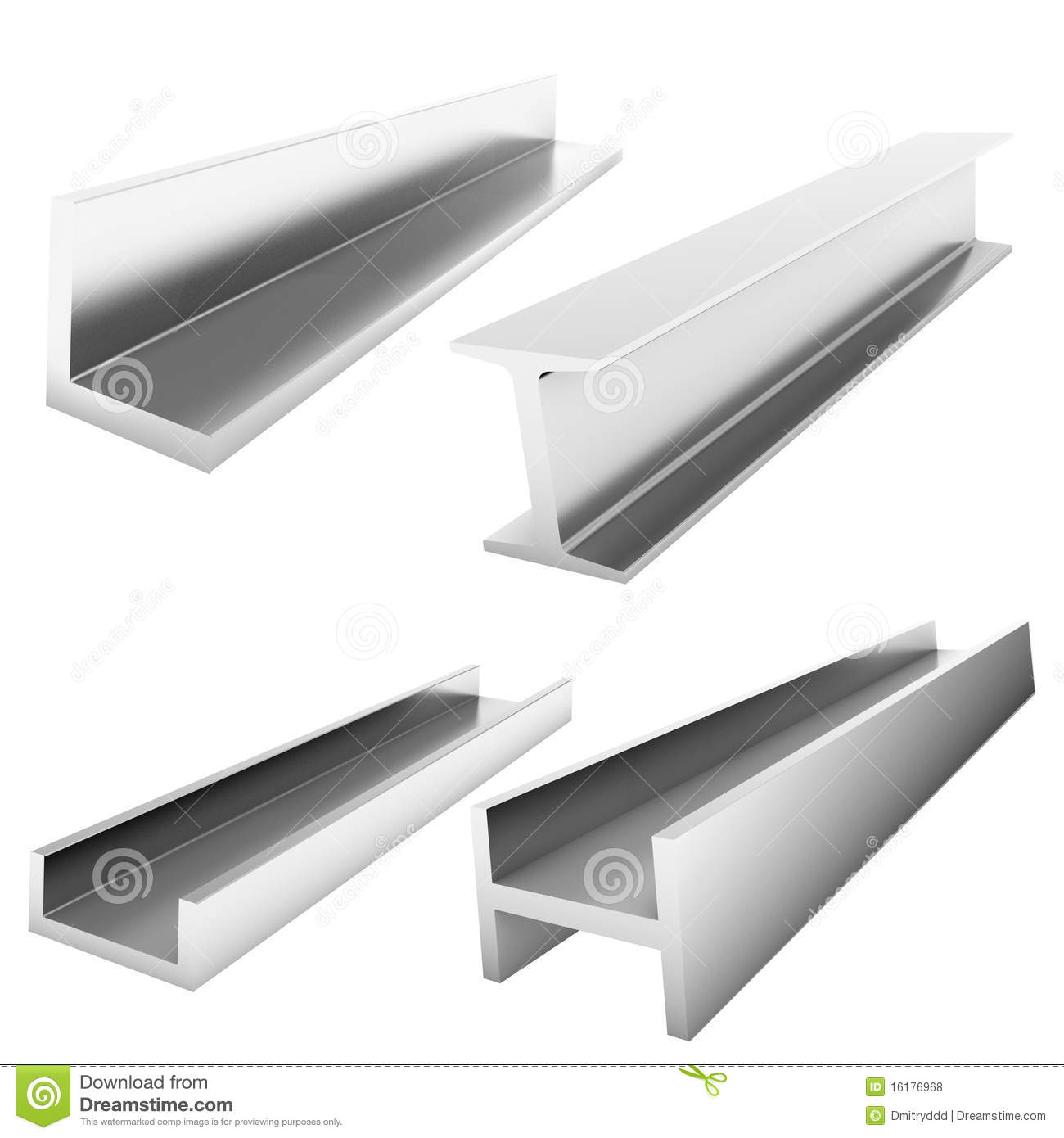 Four stainless steel fasteners on white floor stock photo