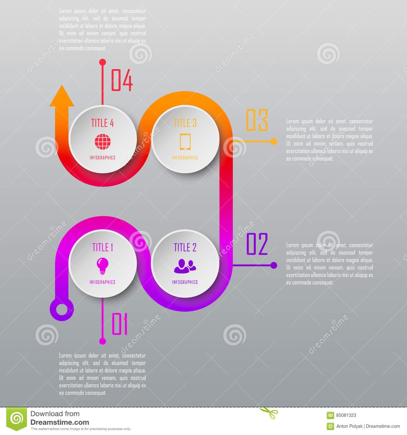 pr timeline template - four steps infographics infographic template stock vector