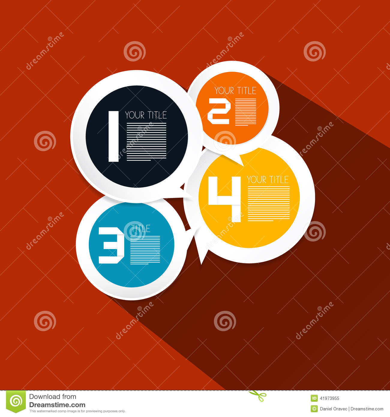 Four Steps Paper Vector Circle Infographic Layout