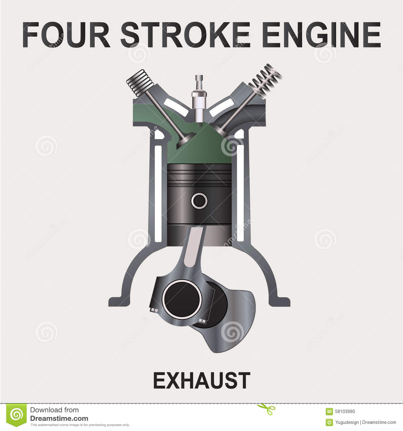 Four Stroke Engine  Exhaust Stock Vector
