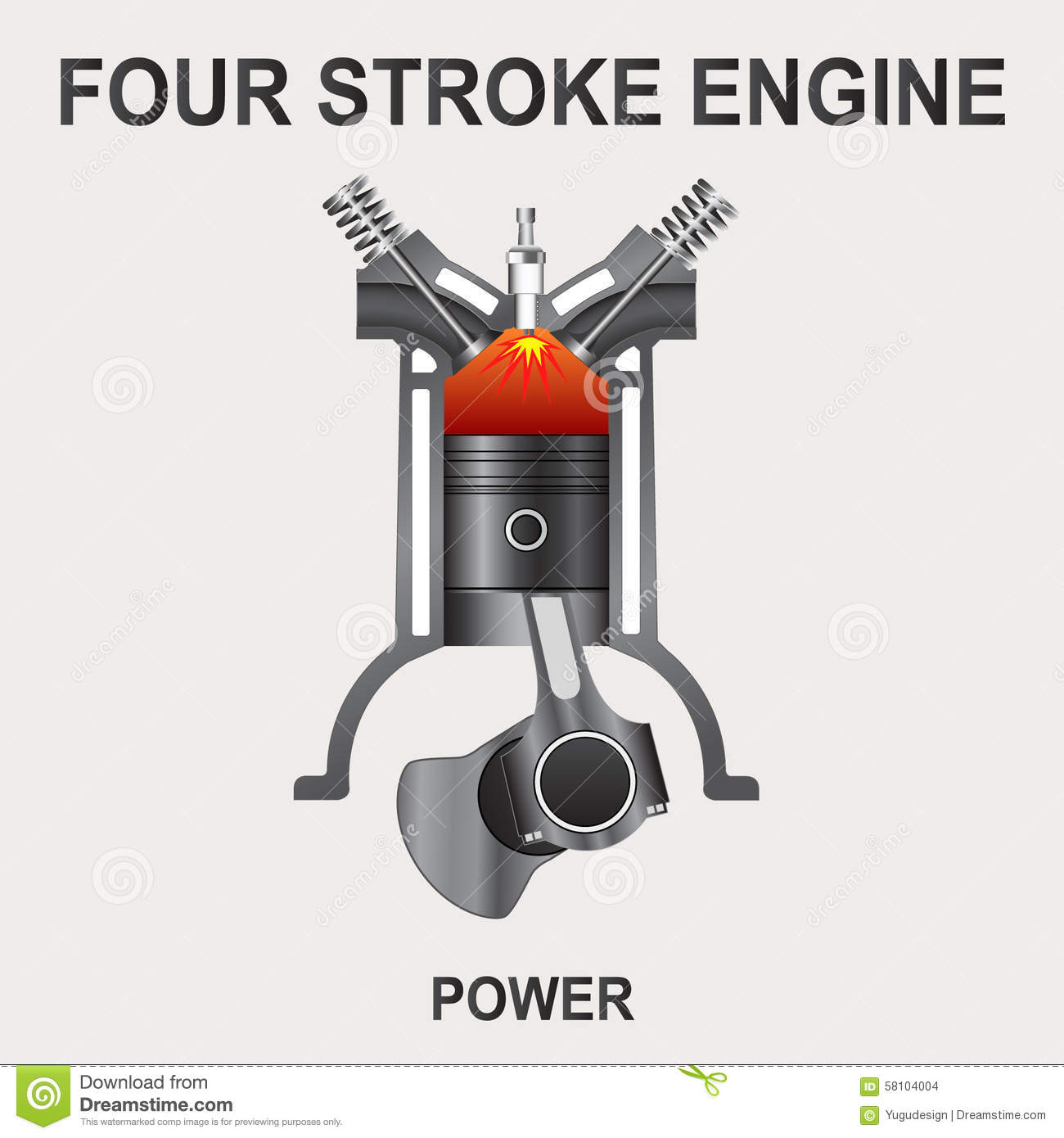 four stroke engine  power stock vector
