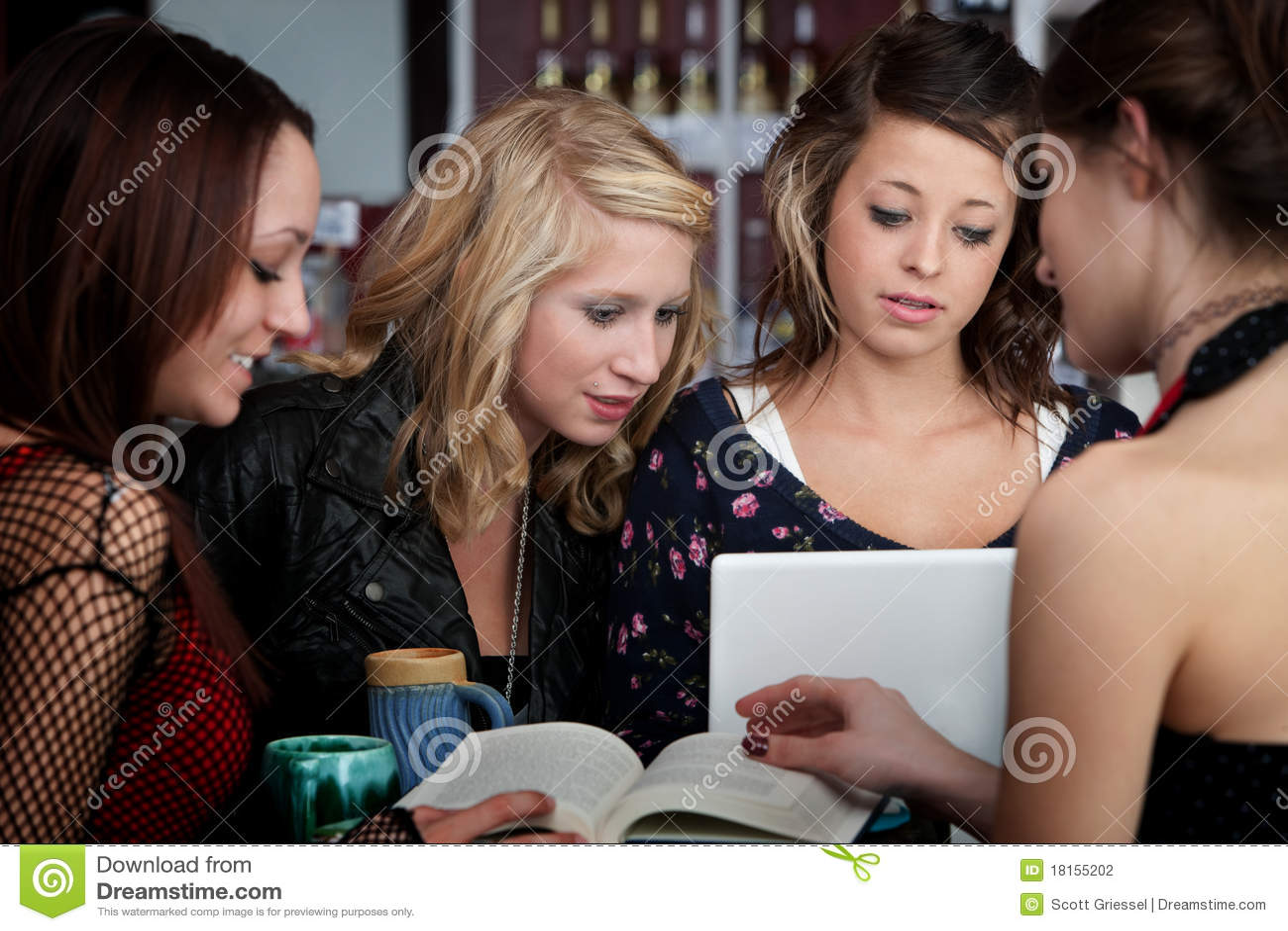 Four Students Do Their Homework