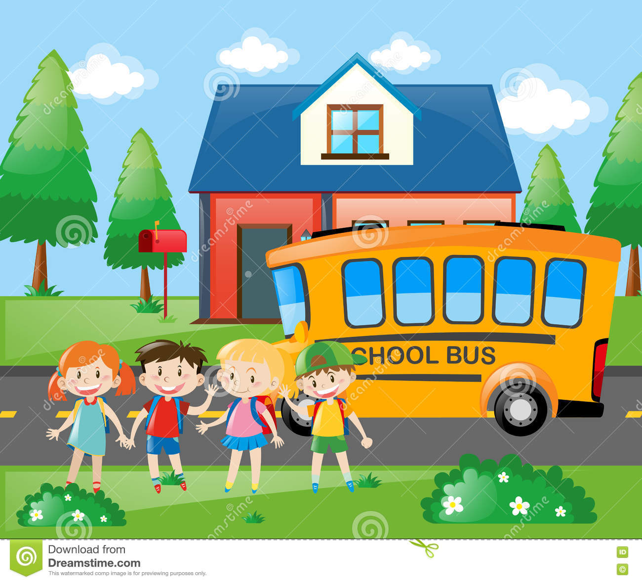 four students going home by school bus stock vector illustration rh dreamstime com DIY School Bus Home Conversion Arriving Bus Home