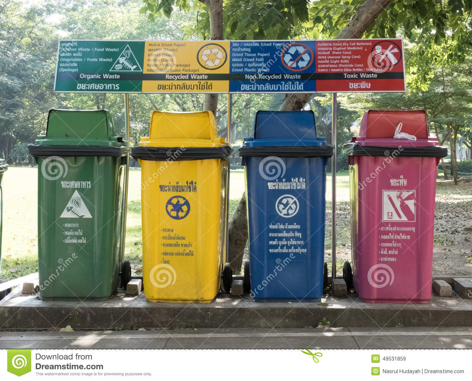 green non recycled toxic trash waste bin