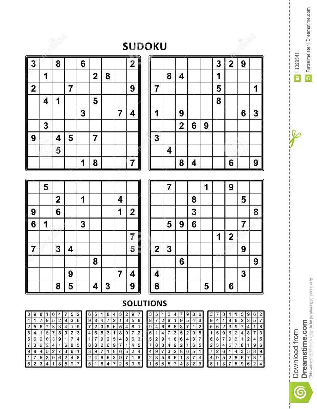 Four Sudoku Games With Answers Set 10 Stock Vector Illustration