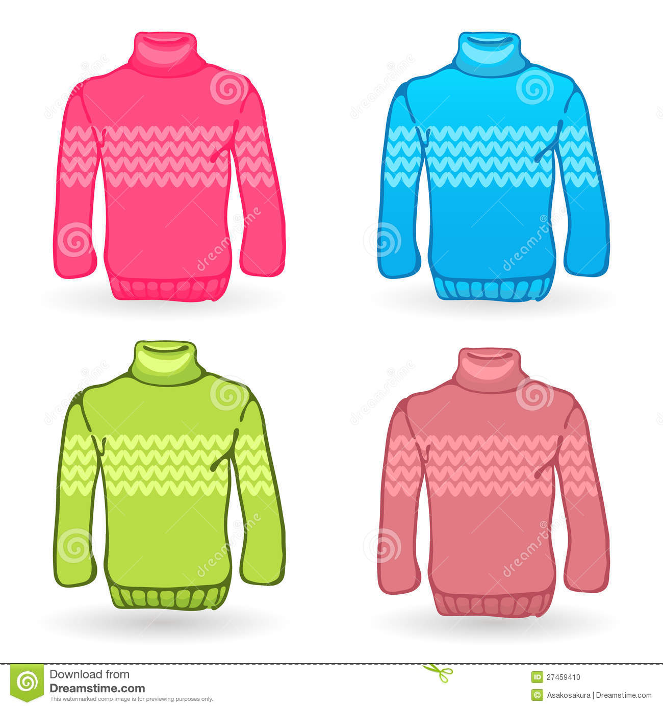 Four Sweater Icons On White Background. Knitting Stock ...