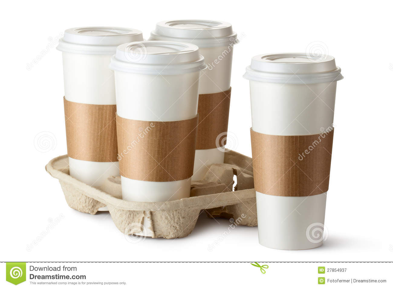 Four take-out coffee. Three cups in holder.