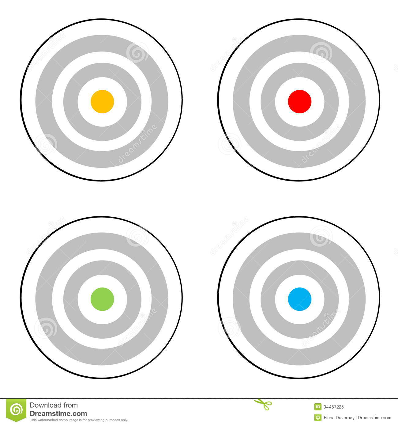 https://thumbs.dreamstime.com/z/four-targets-grey-target-yellow-red-green-blue-center-white-background-34457225.jpg