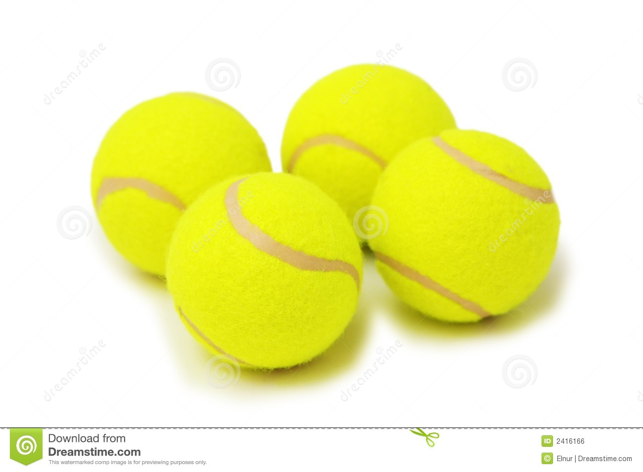 Four Tennis Balls Isolated Royalty Free Stock Image - Image: 2416166