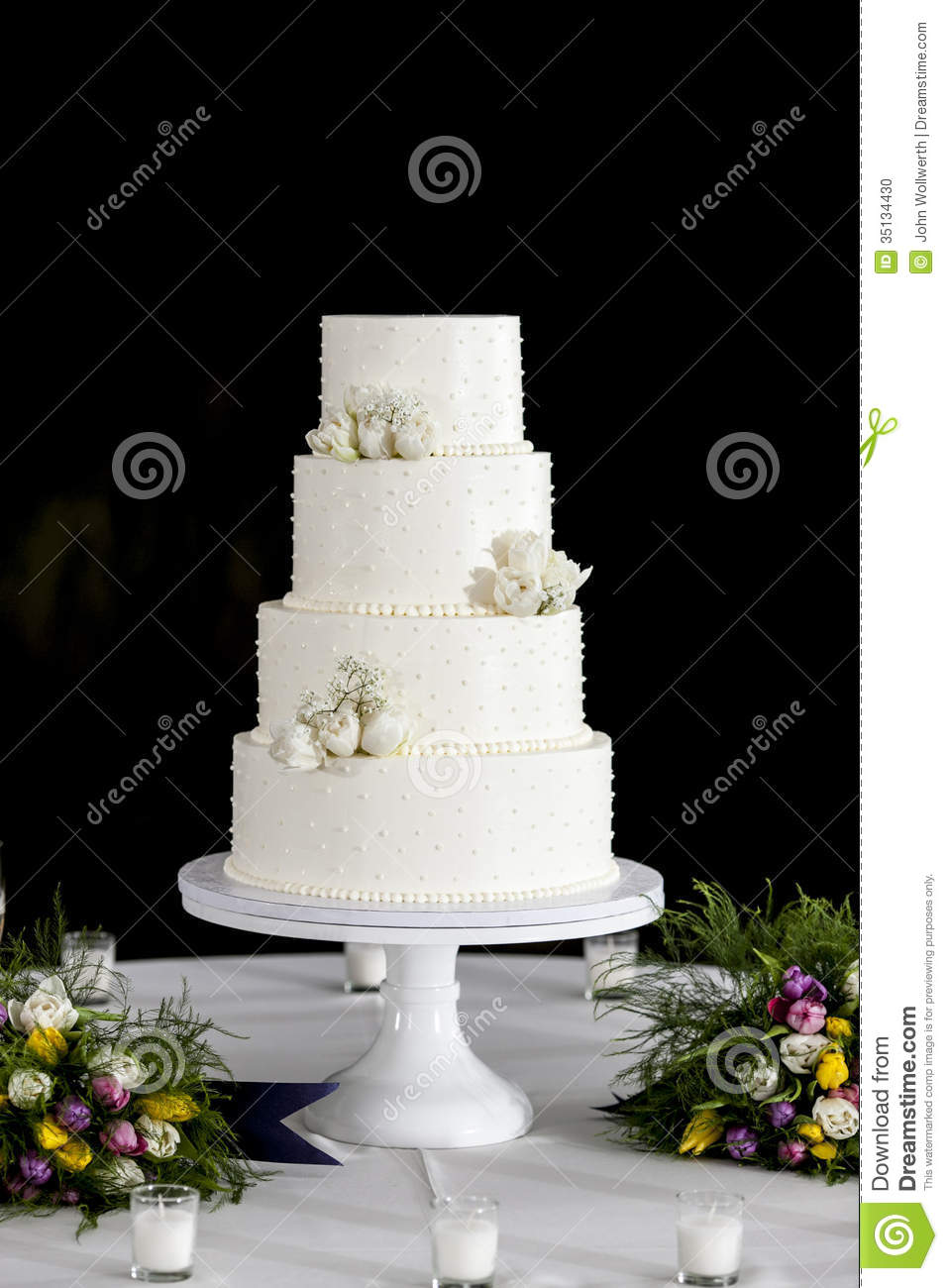Four Tiered Wedding Cake Stock Photo Image Of Confection