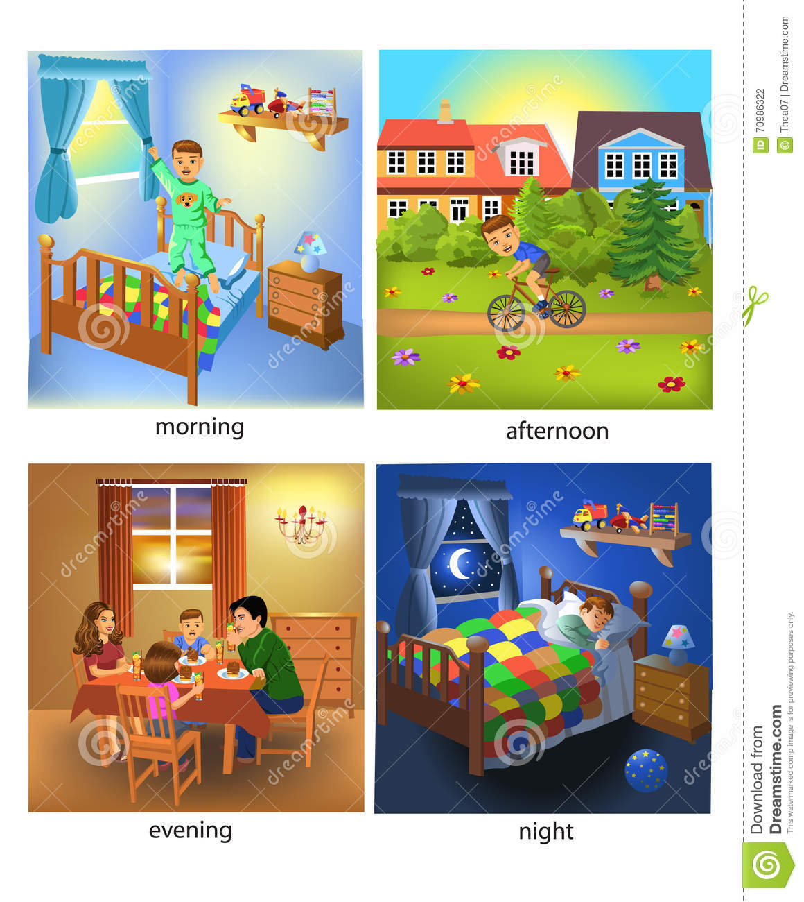 Vector illustration of the four times of the day: morning, afternoon ...