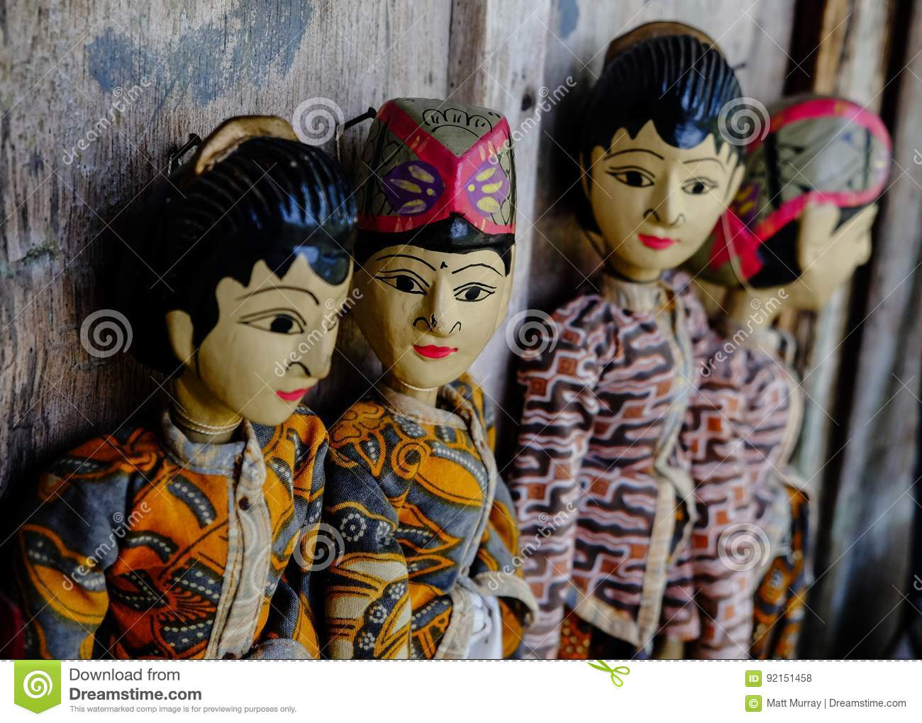 Download Four Traditional Javanese Wayang Golek Theatre Puppets Being Sold As Sourvenirs In Pawon, Java. Stock Photo - Image of theatre, made: 92151458