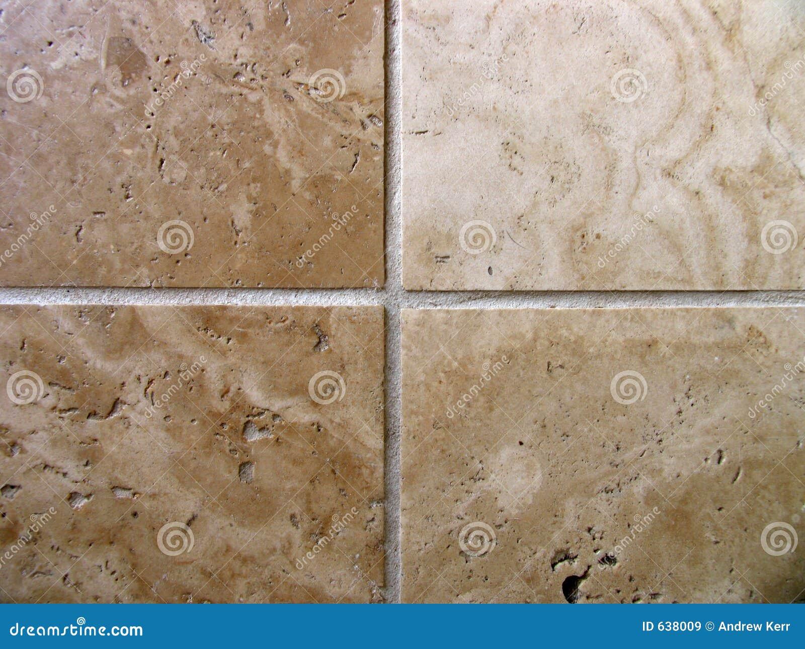 Four travertine tiles