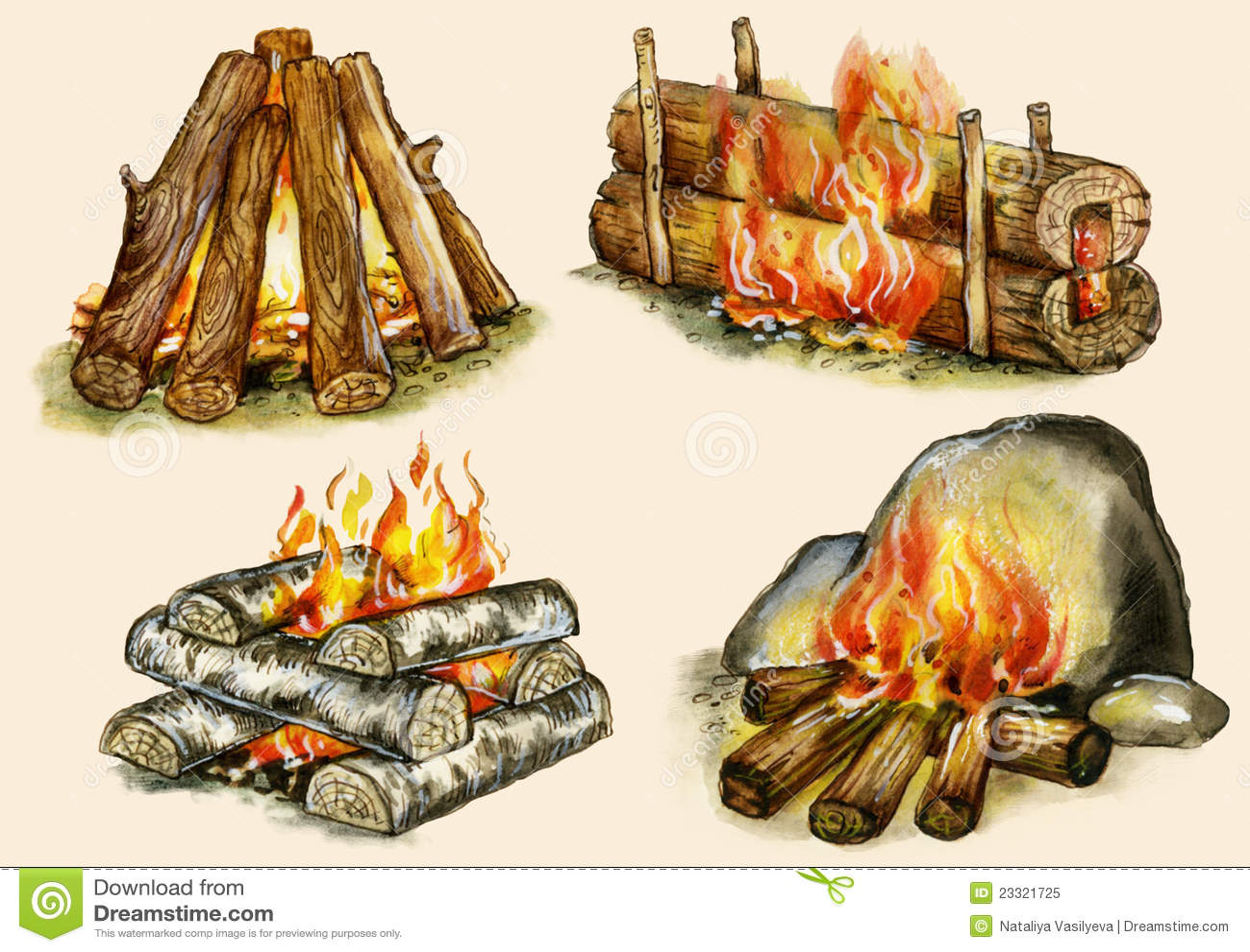 four types of campfires stock illustration illustration of shelter 23321725. Black Bedroom Furniture Sets. Home Design Ideas