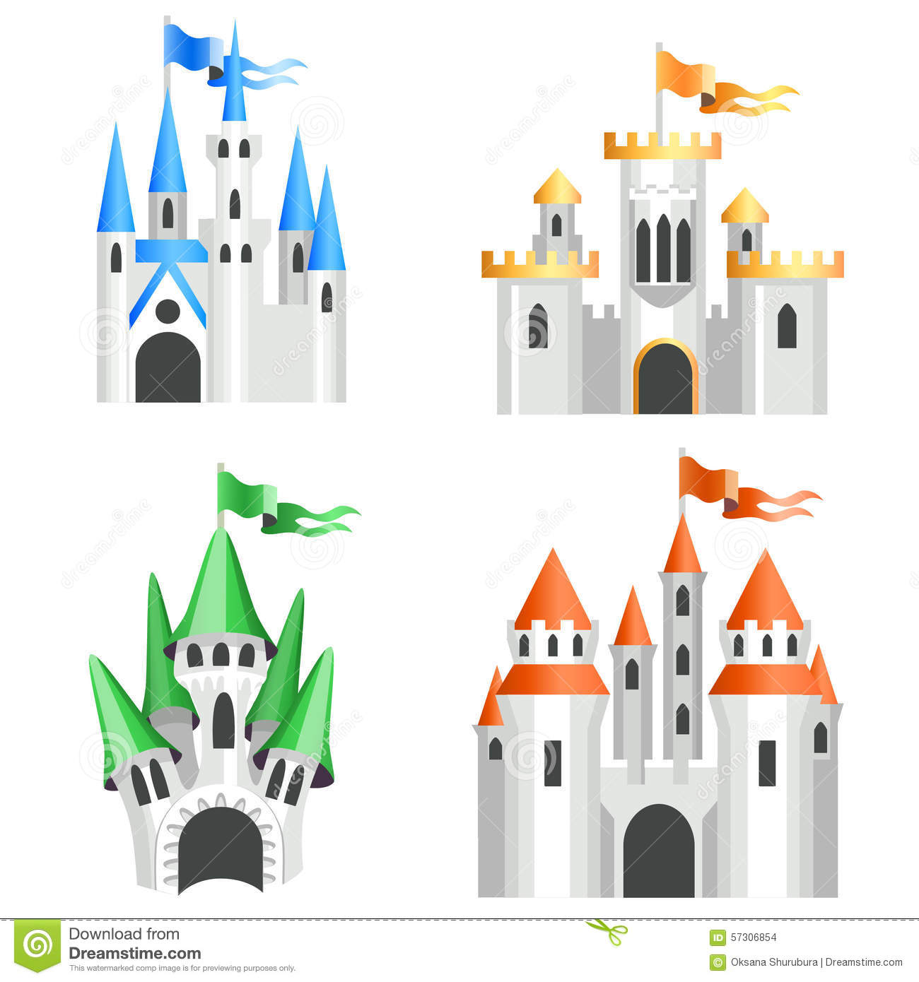 four types of cartoon castles stock vector image 57306854. Black Bedroom Furniture Sets. Home Design Ideas