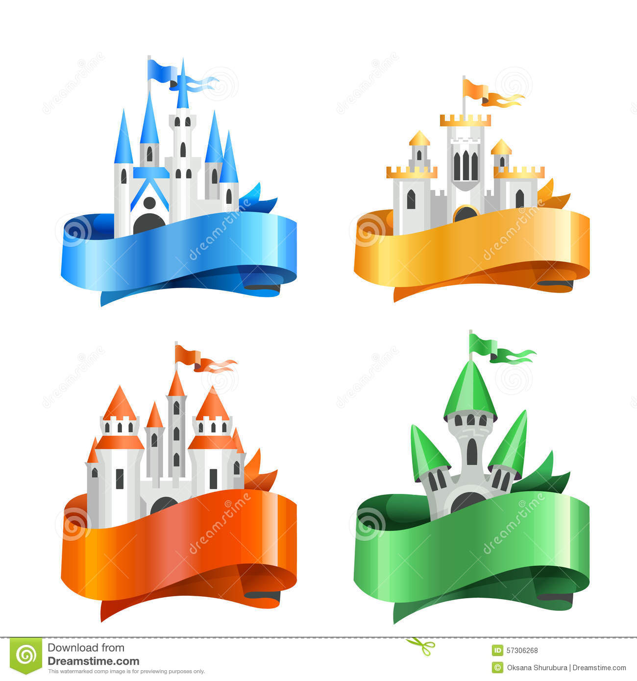 four types of cartoon castles wrapped in ribbons stock. Black Bedroom Furniture Sets. Home Design Ideas