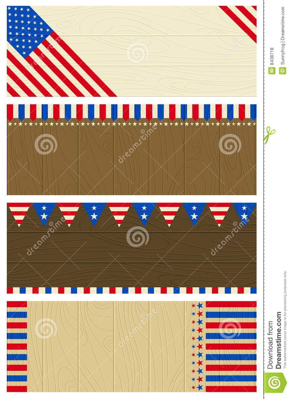 Four usa wooden banners
