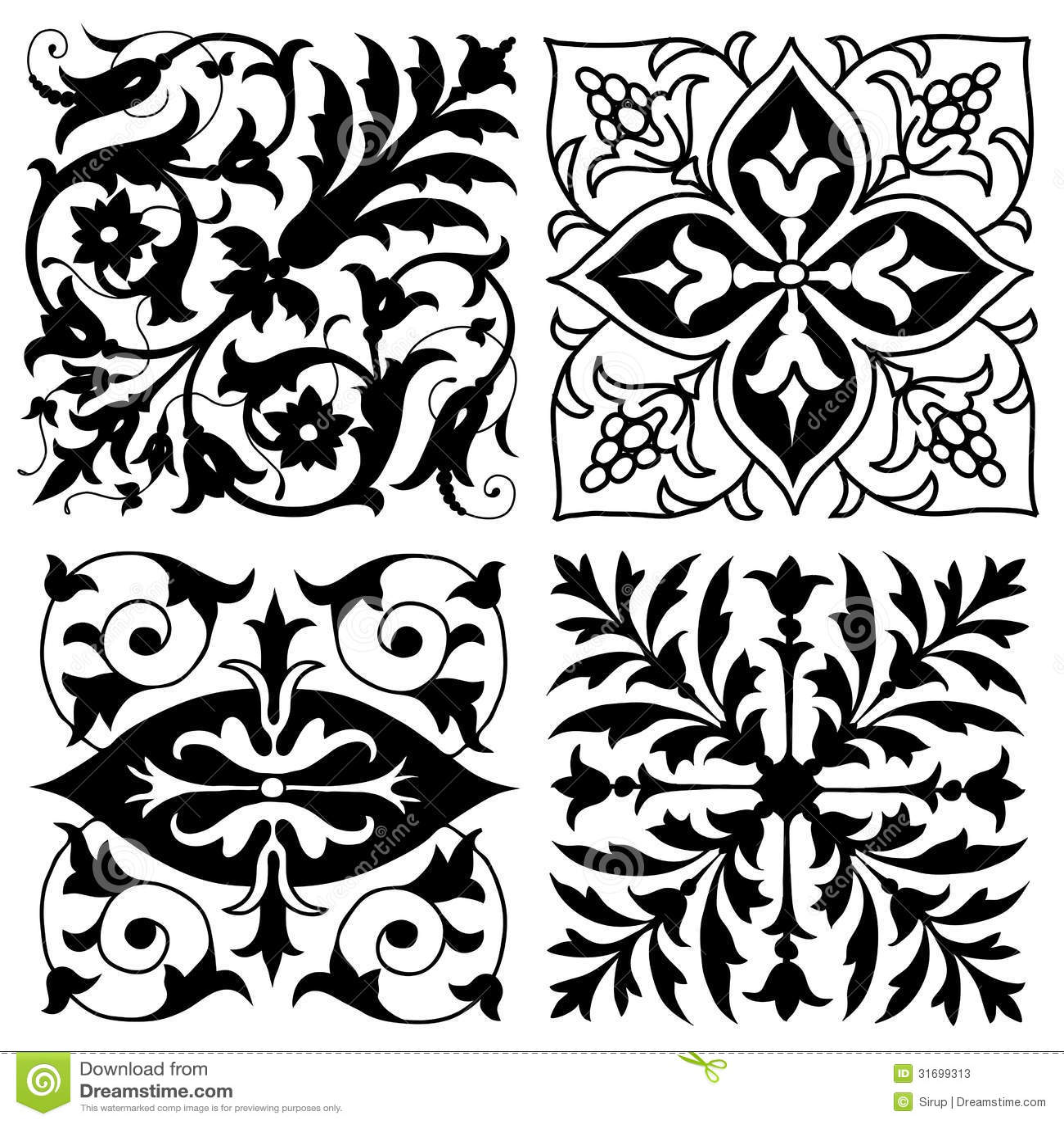 Four Vintage Foliate Ornament Designs Stock Vector