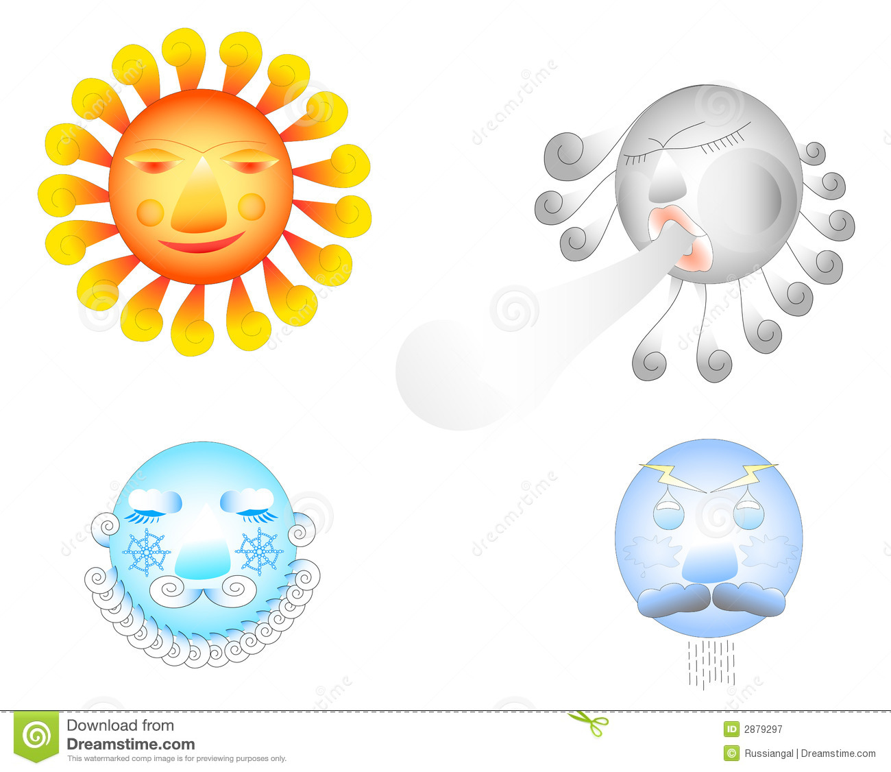 Four Weather Elements. Royalty Free Stock Photography - Image: 2879297