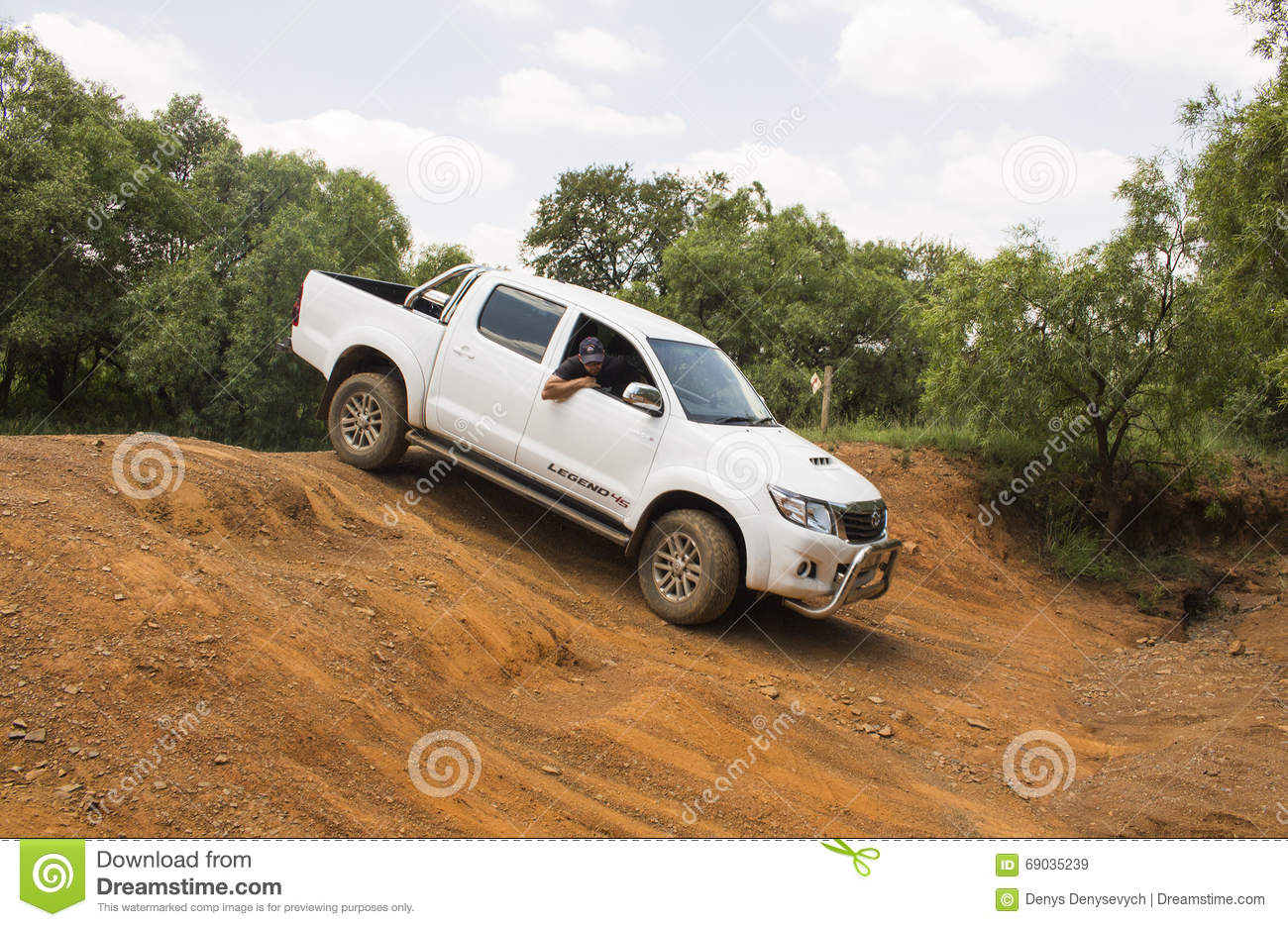 four wheel drive vehicle toyota hilux legend 45 is doing off road editorial stock image image. Black Bedroom Furniture Sets. Home Design Ideas